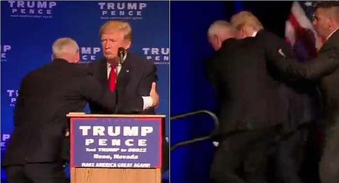Donald Trump: lo socorren de inmediato por amenaza de seguridad en mitin (VIDEO)