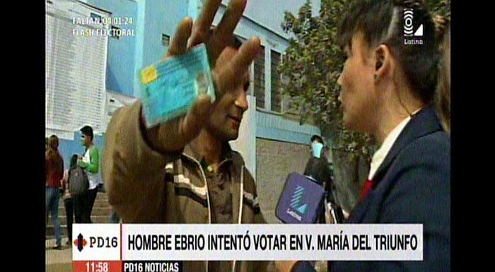 Elecciones 2016: Borrachito intenta votar y le impiden ingreso a colegio en VMT