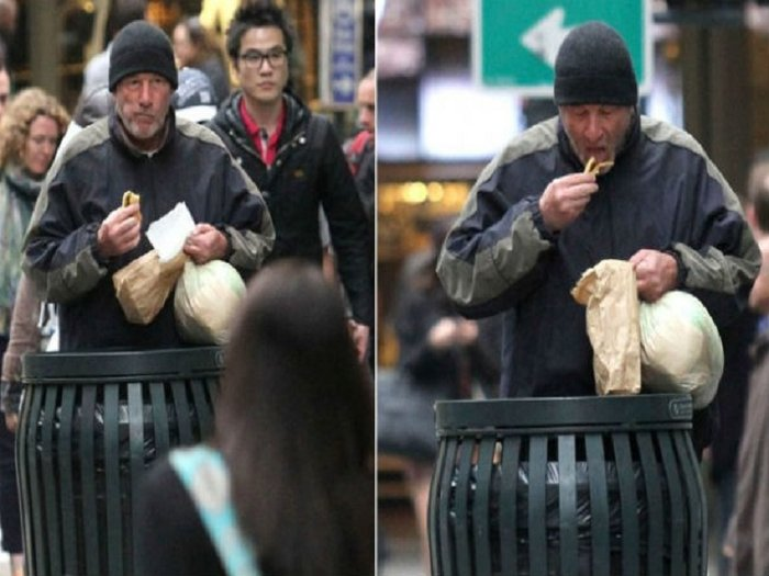 Increíble: Richard Gere come de la basura