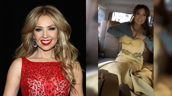 Thalía se viste en su auto y comparte este divertido video