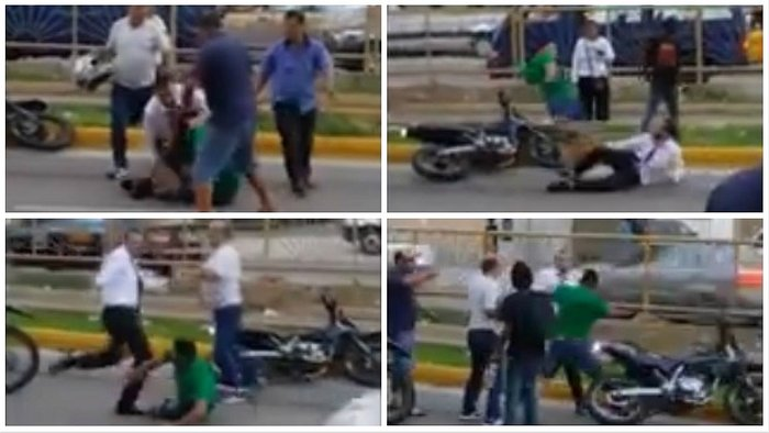 ​Dos hombres se agarran a golpes en plena avenida Universitaria (VIDEO)