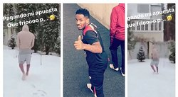 ​Jefferson Farfán pierde apuesta y camina en la nieve sin zapatos (VIDEO)