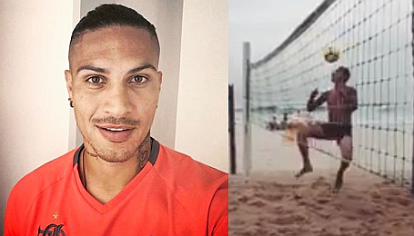 Paolo Guerrero muestra sus dotes en vóley playa (VIDEO)