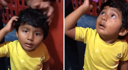 "Cortan cabello a un niñito ""de mentira"" y su reacción enternece Internet (VIDEO)"