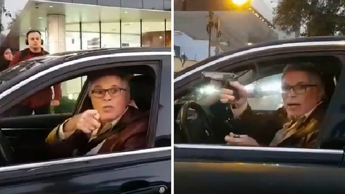 Amenaza con pistola a conductor que lo interceptó por conducir mal (VIDEO)