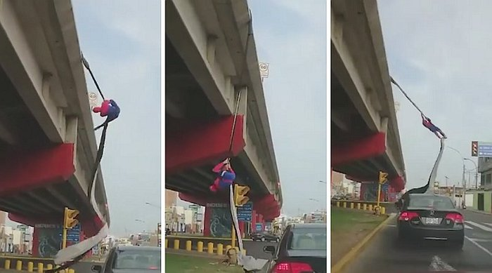 'Spiderman peruano' se gana la vida haciendo acrobacias en la calle (VIDEO)
