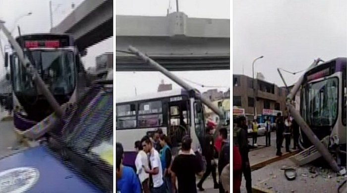 Varios heridos deja accidente entre bus del Corredor Morado y combi en SJL (VIDEO)