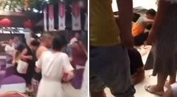 Terrible accidente ocurre en plena boda: tierra se 'traga' una mesa (VIDEO)