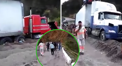 Saqueaban camión accidentado cuando un carro embistió a los rateros (VIDEO)