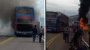 Bus se incendia en plena carretera y más de 20 personas salvan de morir (VIDEO)